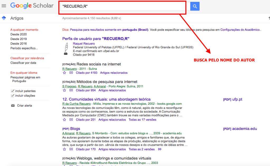 Pesquisa no Google Acadêmico pelo nome do autor